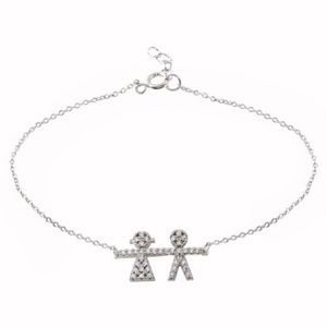 Sterling Silver CZ Boy AND Girl Chain Bracelet